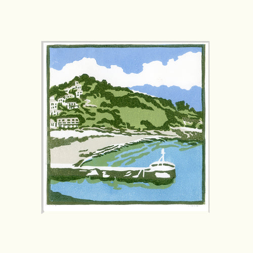 A+Bay+in+Cornwall-Fiona Carver-Limited edition print -Linocut print - Wychwood art 3