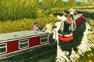 Narrow Waters, Jan dingle, Limited edition print, Canal boats