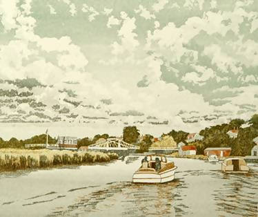 Approaching the open swing bridge, Jan Dingle, Limited Edition Print