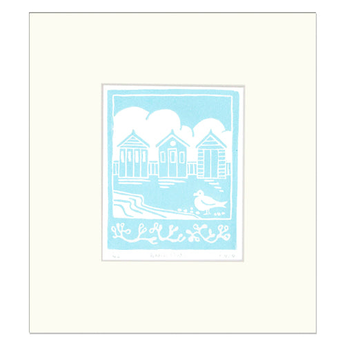 Beach Huts - Fionar carver - Limited edition print - Linocut print