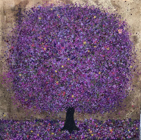 Nicky Chubb, Bliss for bees, Nature art, Trees, Purple, Affordable art, Resin cover, Mixed media on canvas