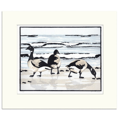 Brent+Geese+in+the+Morning-Fiona Carver- Limited edition-Lincut print- Wychwood art