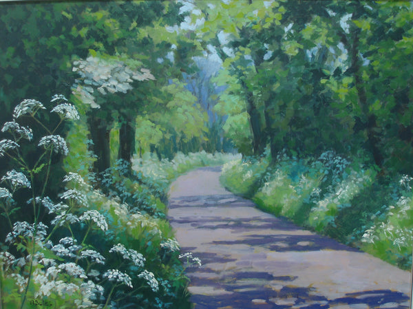 Andrea Bates, Cow Parsley In May, Original Oil Painting, Landscape, Spring, Nature
