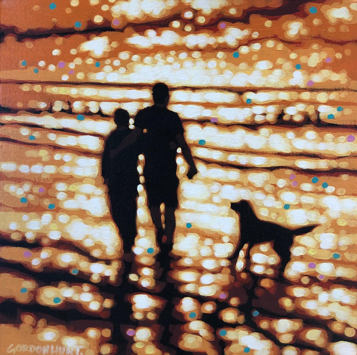 Gordan Hunt-The Evening walk-Throw it!-Original Art-Acrylic