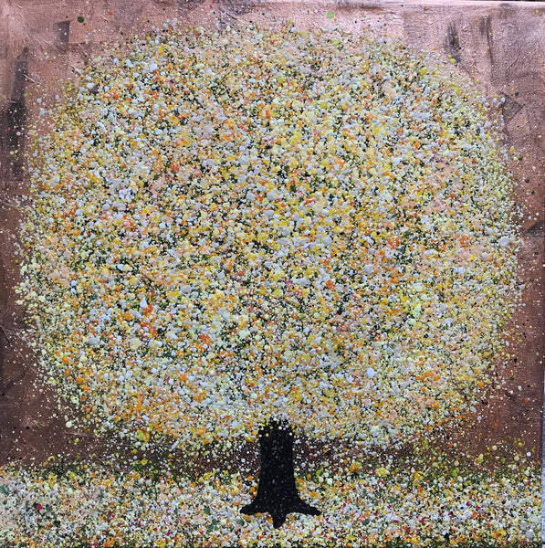 Honey, Nicky Chubb, Tree, Yellow, Nature art, Mixed media on canvas