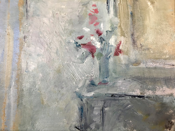 Jemma Powell- Flowers on my Mantelpiece, Oil on Board, Affordable art, Original Art, Still Life, Interior, Flower Painting, Grey, White, Pink, Yellow, Blue