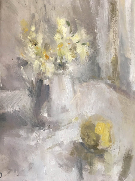 Jemma Powell, Spring at Last, Oil on Board, Still Life, Yellow, Green, Grey, Fruit, Flowers