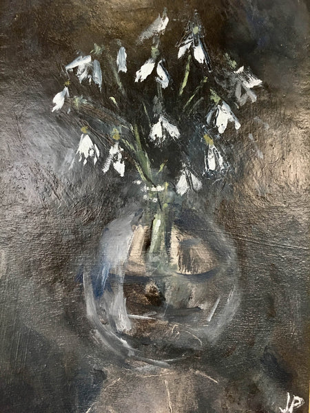 Jemma Powell- Hampshire Snowdrops, Still Life, Flower Painting, Original Oil on Board, Black, White, Blue, Affordable Art