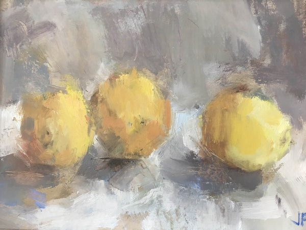 Jemma Powell- Three Lemons, Oil on Board, Still life, Fruit, Expressive Painting, Yellow, Blue, Grey, White