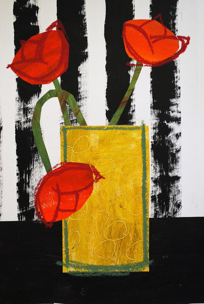 JennyBalmer_Yellow vase with red tulips_wychwood art