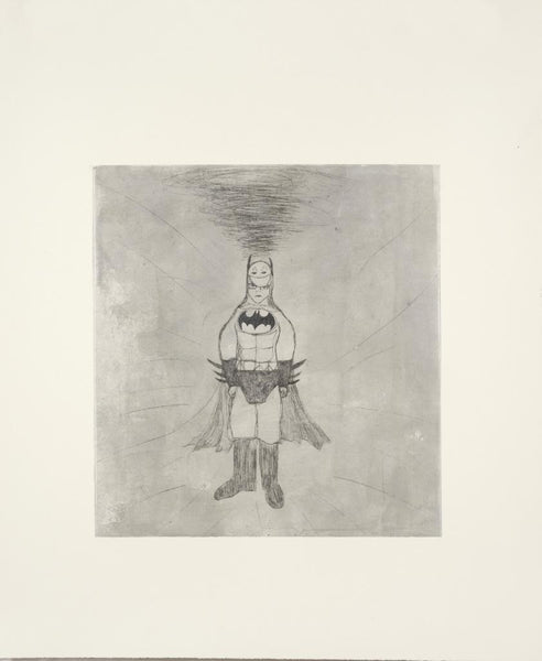 Kate Boxer Batman Drypoint and chine colle print