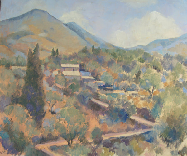 Andrea Bates, Greek Village, Original Painting, Landcape, Corfu, Affordable Art