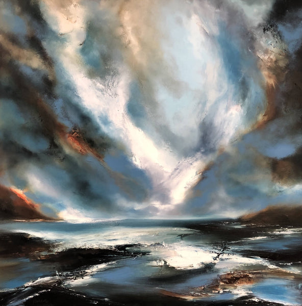 Helen Langfield, Imposing Sea, Oil Painting, Original Artwork, Seascape Painting, Sky, Blue, White, Cloud Painting, Affordable Art