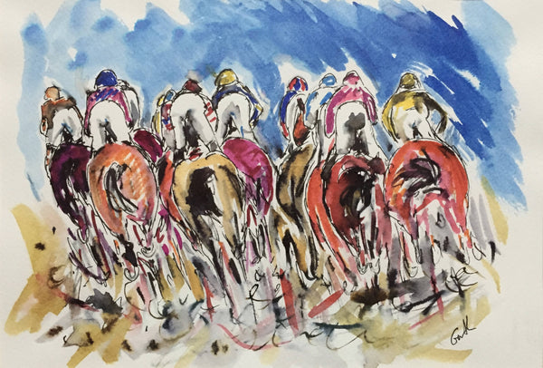 Garth Bayley, I always put my best side forward, horse racing drawing, original drawing, affordable art