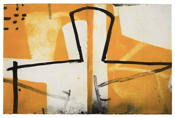 Graham Fransella, Figure by Window, Limited edition etching, Abstract, Yellow White, Black, Abstract, Affordable Art