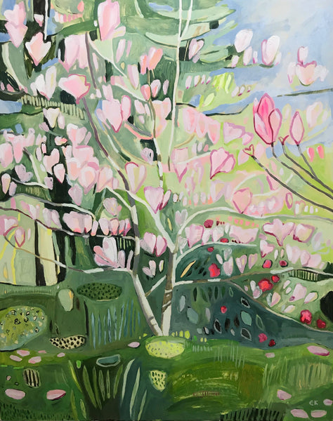 Wanda's Magnolia Tree with Red Gardenia Bush, Elaine Kazimierczuk, Original Oil Painting, Affordable Art, pink, garden painting, semi-abstract,