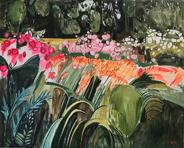 Rose, Lily, Rose, Lily, Elaine Kazimierczuk, Garden Landscape Painting, original oil painting, brightly coloured, romantic, expressive work