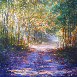 Mariusz Kaldowski, Enchanted Forest, Original Art, Affordable Art, Landscape, Purple, Green, Nature Painting
