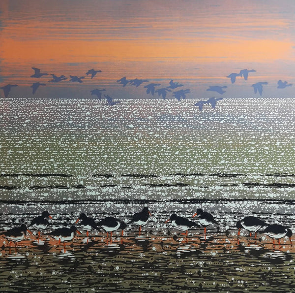 Oyster Catchers with Geese, Mark Pearce, Limited Edition Print
