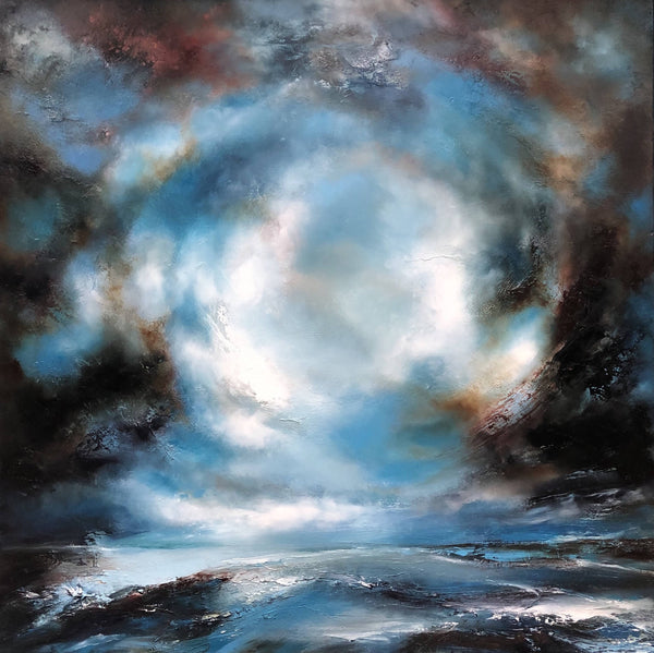 Helen Langfield -Breathless Sea, Oil Painting, Original Artwork, Abstract Painting, Affordable Art, Seascape, Skyscape, Blue, Grey, White