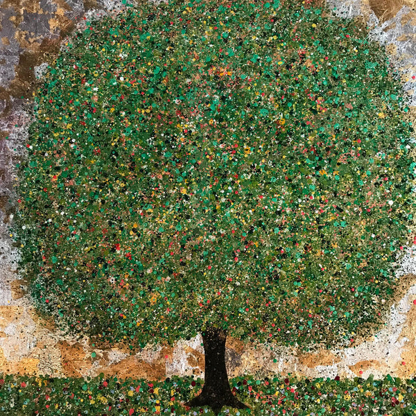 Daydreaming of summer, Nicky Chubb, Tree art, Nature, Green, Glitter, Mixed media on canvas