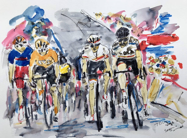 Garth Bayley, Sagan does it again on Stage 3 of the Tour Down Under, Original Art, Ink Drawing, Cyclying, Affordable Art
