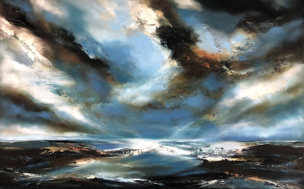 Helen Langfield, Cloudburst, Oil Painting, Original Artwork, Seascape, Affordable Art, Skyscape, White, Blue, Green