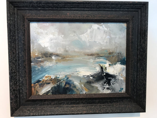 Jemma Powell- Stormy Sea, Original oil on Board, Seascape, Landscape, Blue, White, Brown, Expressive