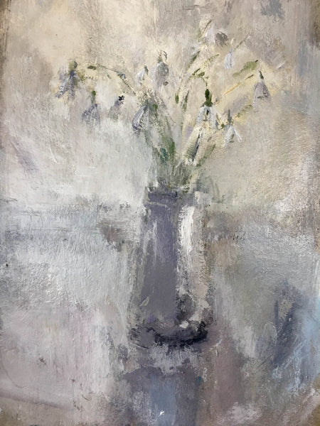 Jemma Powell, Little Pot of Snowdrops, Expressive Art, Still life, Flower Painting, White, Grey, Affordable Art
