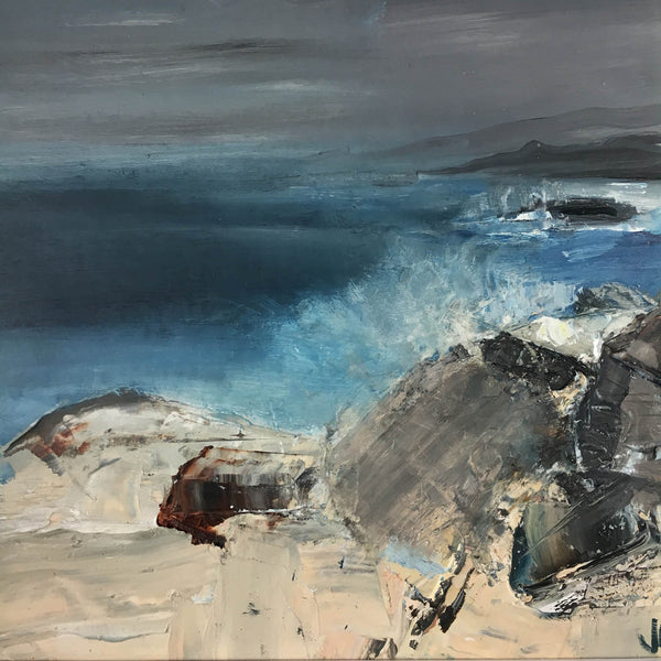 Jemma Powell, Sunlight Before the Storm , Oil on Board, Expressive Landscape, Seascape, Skyscape, Original Painting, Affordable Painting, Blue, Grey, White