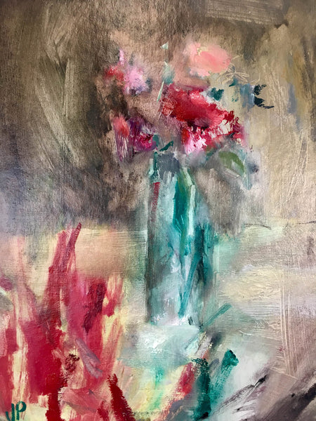 Jemma Powell, Sweet Peas ii, Original Oil on Board, Still Life, Flower Painting, Expressive, Affordable Art, Blue, Pink, Red, Green
