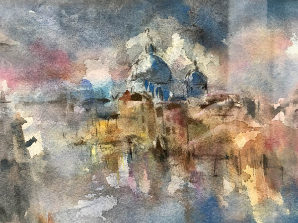 Jemma Powell, Venice, Original Watercolour on Paper, Italian Cityscape, Landscape, City, Yellow, Blue, Pink, Expressive, Affordable Art