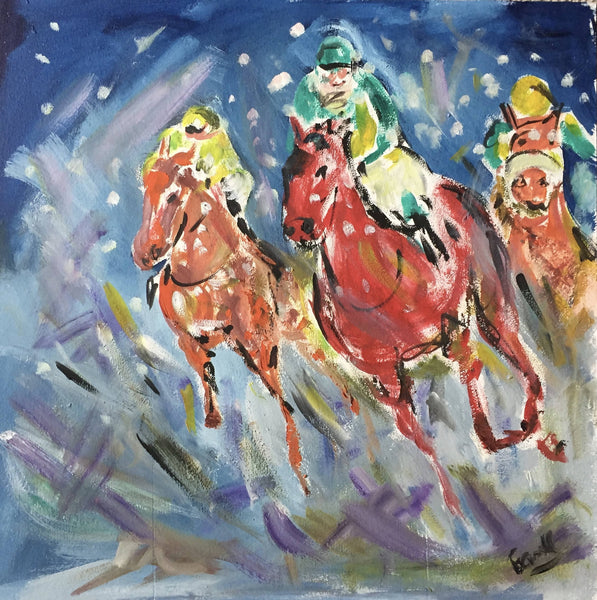 Garth Bayley, Snow Racing, Original Painting, Horse Racing Painting, Affordable Art