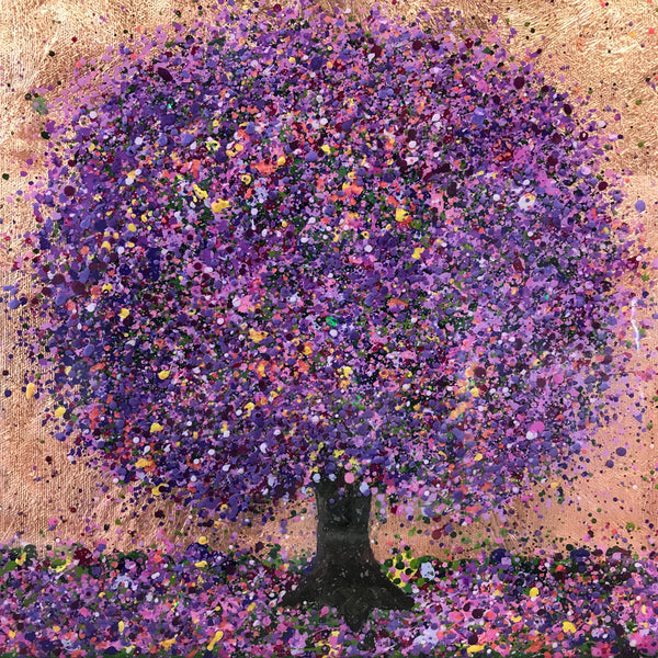 Nicky Chubb, Lilac time, Nature art, Trees, Purple, Affordable art, Mixed media on canvas