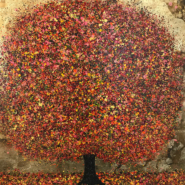 Nicky Chubb-Magical Autumn Light, Nature art, Treesm Gold, Autumn, Red, Orange, Mixed media on canvas