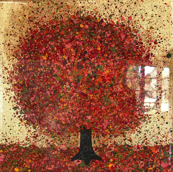 Nicky Chubb- Warm Autumn Evening, Original Painting, Affordable art, Red, Orange, Tree art, Nature