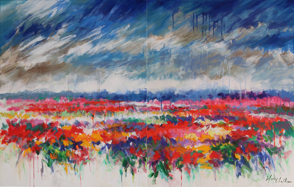 Waiting for the sun, Mary Chaplin, abstract impressionist painting, unique artwork representing a field of wild flowers in summer, mixed summer wild flowers, French meadow, poppies, cornflowers and dog daisies.