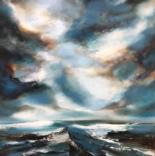 Helen Langfield - Deep Swell, Oil Painting, Original Painting, Seascape, Landscape, Abstract, Blue, White, Grey, Affordable Art
