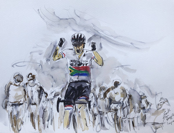 Garth Bayley- The Rainbow Nation comes through to win Stage 4 of the Tour Down Under, Cycling, Expressive Painting, Blue, Bicycle, Grey, White, Affordable Art, Original Art