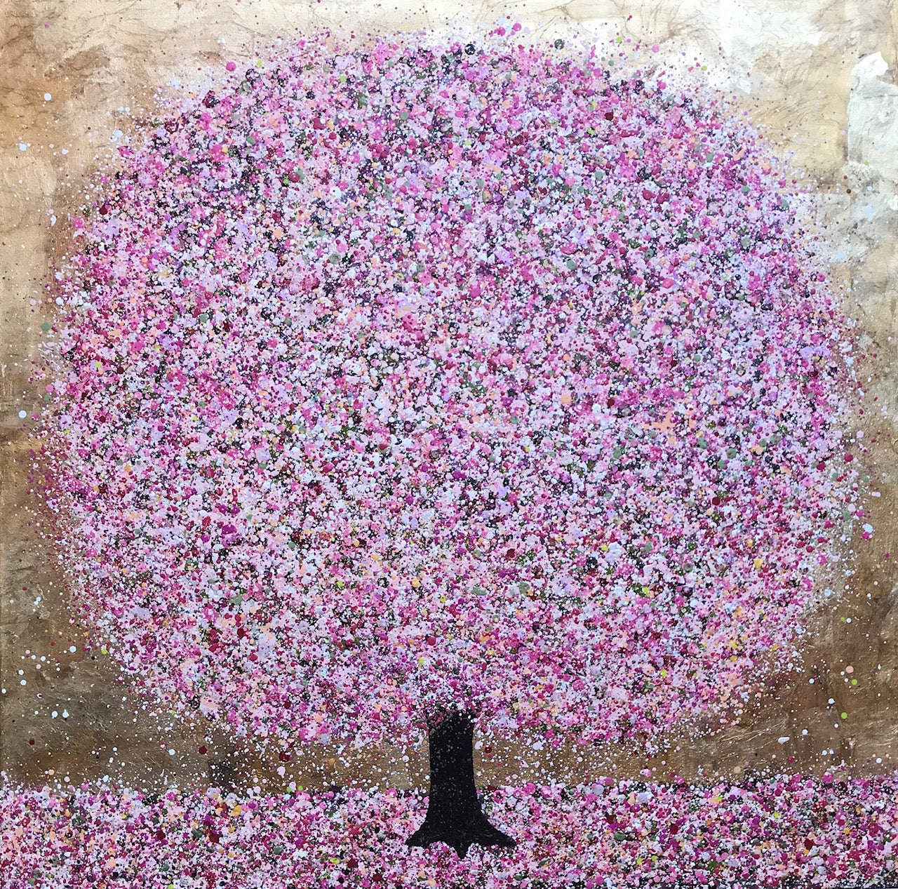 Nicky Chubb- Spring is Here, Nature art, Trees, Pink, Acrylic on canvas, Affordable Art, Original Painting