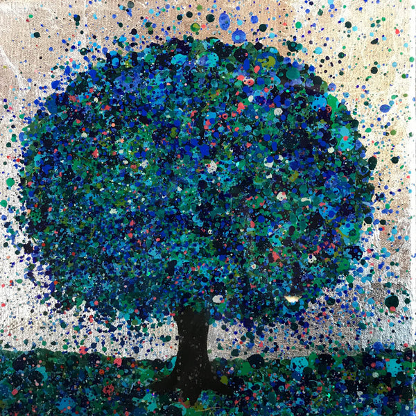 Nicky Chubb, Summer Morning Glitters, mixed media on canvas, abstract painting, tree