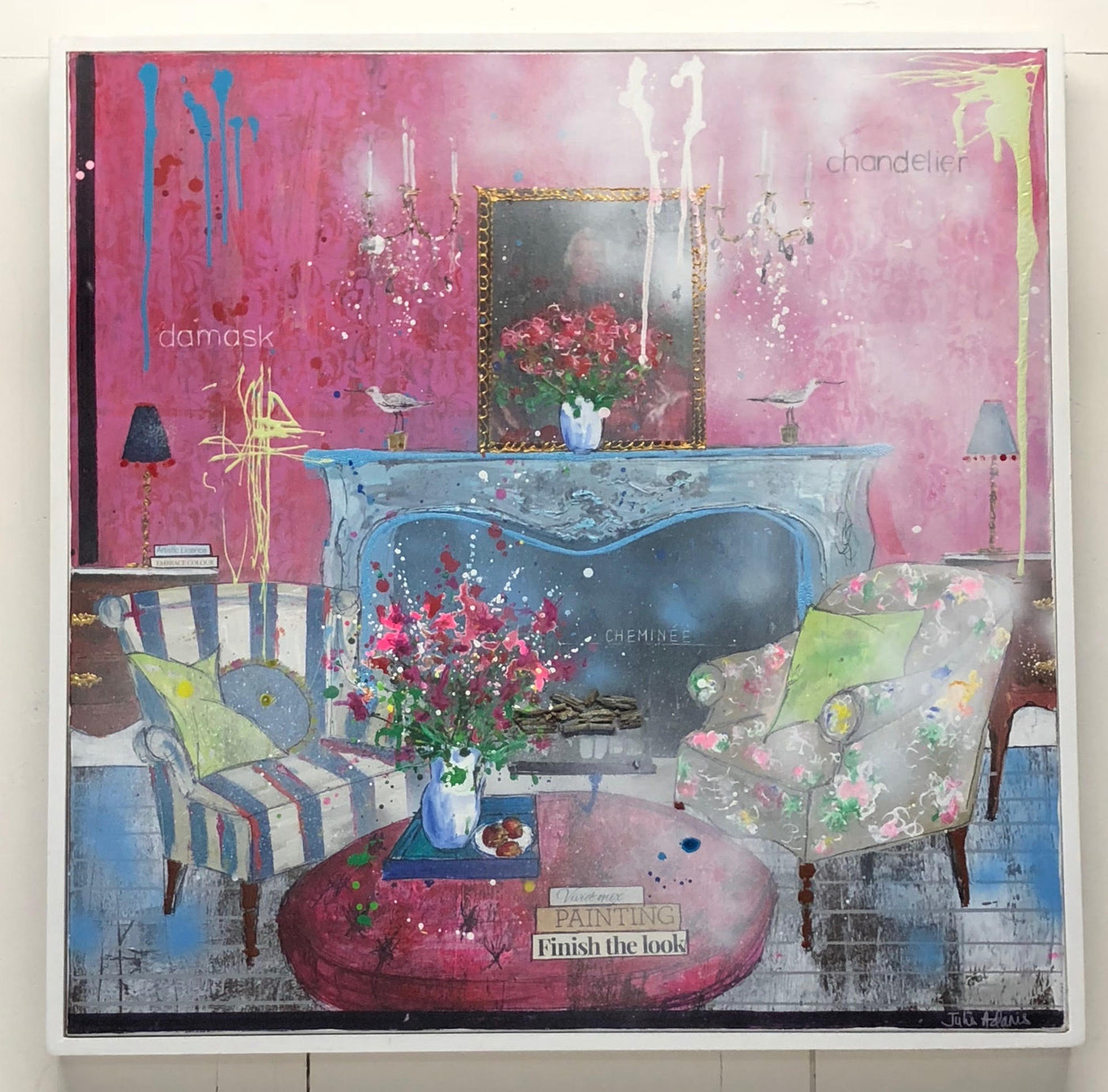 Vivid Mix, interior of a room setting, original painting for sale