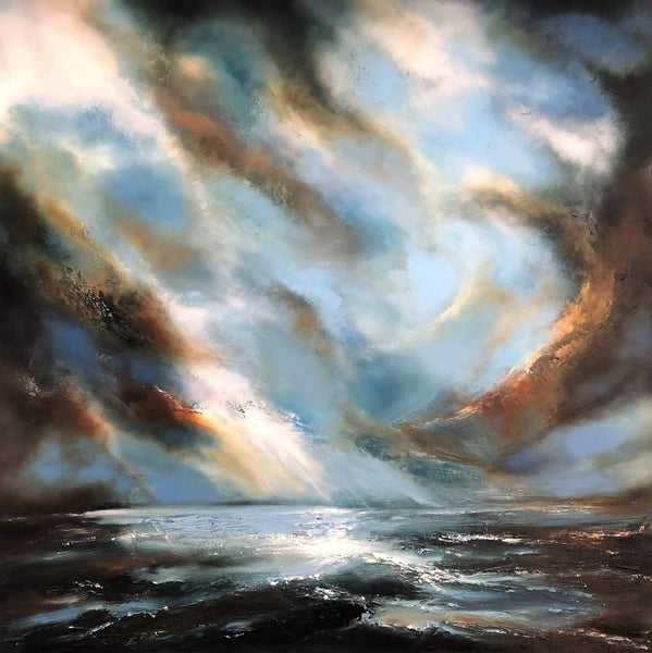 Helen Langfield, Prelude, Oil Painting , Original Artwork, Seascape, Sky, Original Artwork, Affordable Art, Blue, Brown, Green