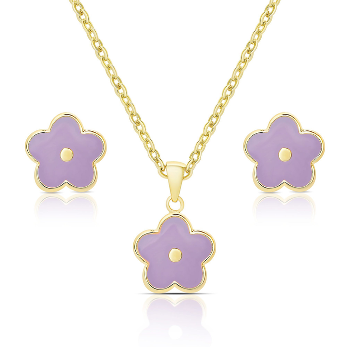 FLOWER STUD EARRINGS & NECKLACE SET - PURPLE