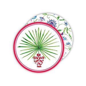 ROUND COASTERS - POTTED PALM PINK