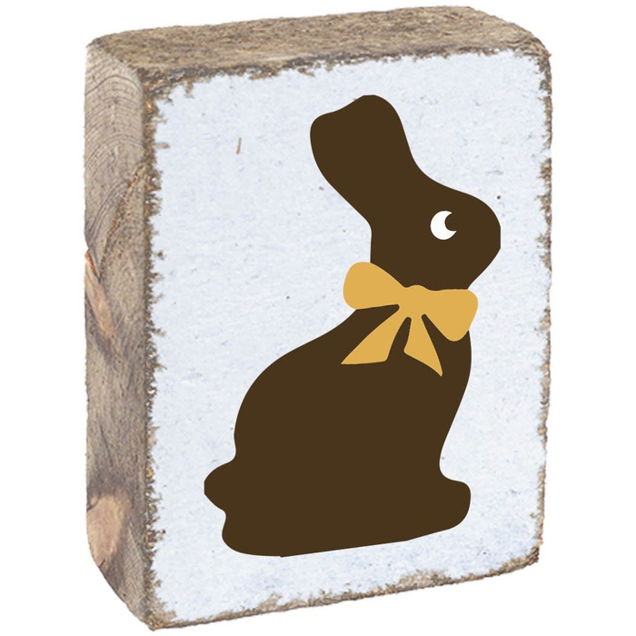 Rustic Block- Chocolate Bunny