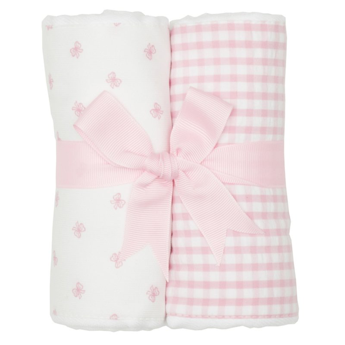 Pink Bow Set of Two Burp Cloths