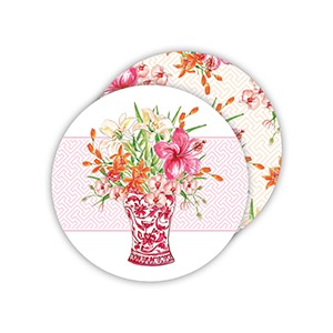 ROUND COASTERS - HANDPAINTED FLORAL RED CHINOISERIE VASEROUND COASTER