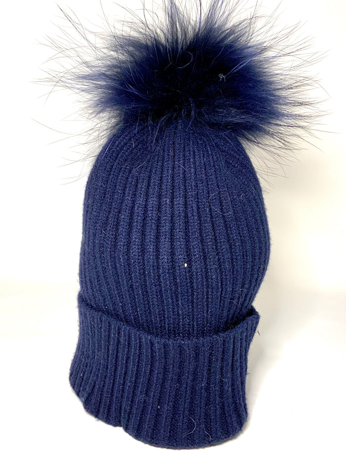 PERSONALIZED BLUE RIBBED HAT WITH TIPPED FUR