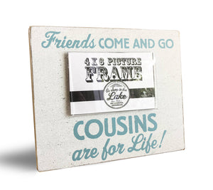 Frame- Cousins 4 x 6 frame- white with Teal ink